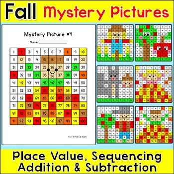Fall Math Hundreds Chart Mystery Pictures - Fall Activities