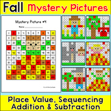 Fall Math Hundreds Chart Mystery Pictures - Place Value, Addition & Subtraction