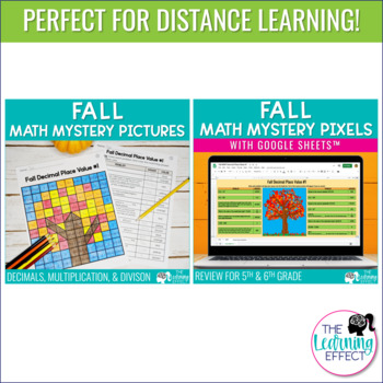 Fall Math Mystery Pictures   Decimal Place Value, Multiplication, Division
