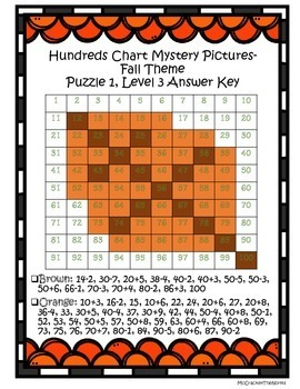 Fall Math Mystery Puzzle- Hundreds Chart