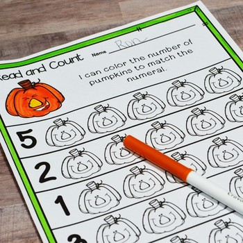 Kindergarten Fall Math No Prep Printables {TEKS/CCSS}