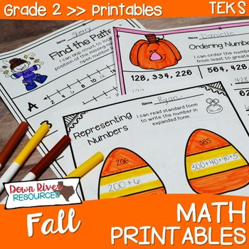 Second Grade Fall Math No Prep Printables{TEKS/CCSS}