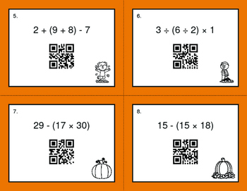 Fall Math: Order of Operations QR Code Task Cards