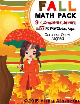 Fall Math Pack Centers and NO PREP Work Pages