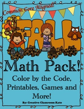 Fall Math Pack- Color by the Code, Printables, Games and More