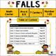 Fall Math Center, Number 1-10 and Number 1-20