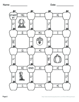 Fall Math: Percents to Fractions Maze