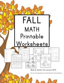 Fall Math Printable Worksheets