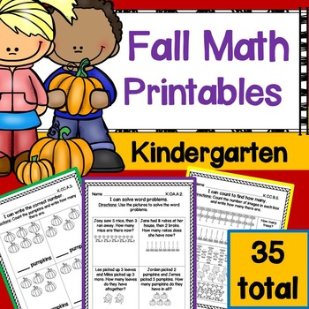 Fall Math Printables Kindergarten aligned to Common Core