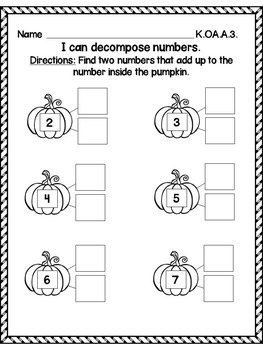 Fall Math Printables for Kindergarten - Common Core Aligned