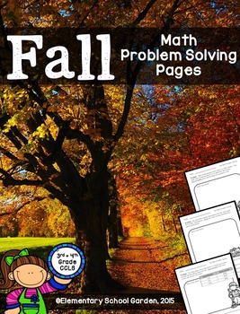 Fall Math Problem Solving Pages - Add, Subtract, Multiply & Divide