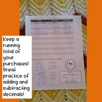 Fall Math Project Decimals Practice with Pumpkin Design