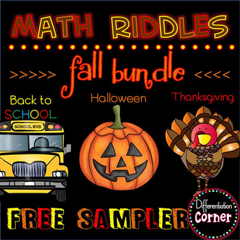 Fall Math Riddle Activity Free *updated*