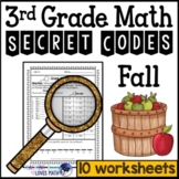 Fall Math Secret Code Worksheets 3rd Grade Common Core