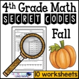 Fall Math Secret Code Worksheets 4th Grade Common Core