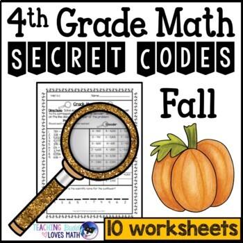 Fall Math Secret Code Worksheets 4th Grade Common Core