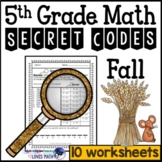 Fall Math Secret Code Worksheets 5th Grade Common Core