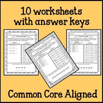 Fall Math Secret Code Worksheets 5th Grade Common Core