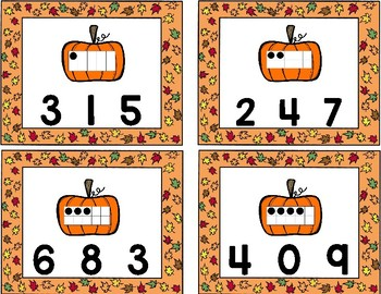 Fall Number Sense Clip Cards