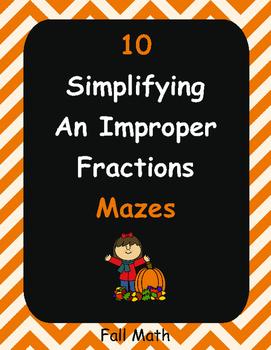 Fall Math: Simplifying an Improper Fractions Maze