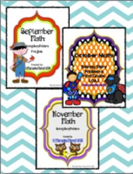 Fall Math: Solving Story Problems First Grade 1.OA.1 BUNDLE!