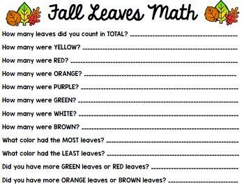 Fall Math - Special Education - Life Skills - Autumn Print and Go Worksheets