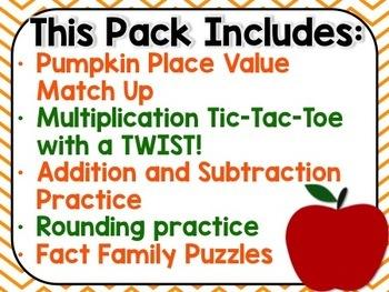 Fall Math Stations {3rd Grade}