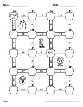 Fall Math: Subtracting Integers Maze