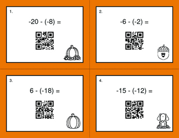 Fall Math: Subtracting Integers QR Code Task Cards