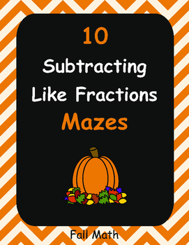 Fall Math: Subtracting Like Fractions Maze