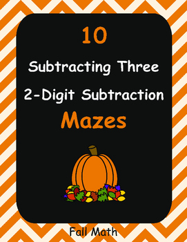 Fall Math: Subtracting Three 2-Digit Subtraction Maze