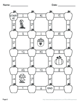 Fall Math: Subtracting Unlike Fractions Maze