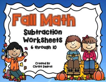 Fall Math Subtraction Worksheet 6 through 10