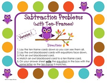 Fall Math Subtraction (using ten-frames) Centers and Task