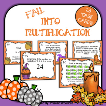 Fall Multiplication Task Cards - Multiplication Facts 2-5