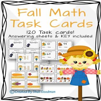 Fall Math Task Cards - 120 cards!!