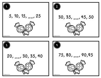 Fall Math Task Cards - Counting by Fives