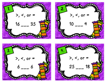 Fall Math Task Cards - Greater Than, Less Than, Equal to