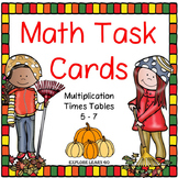 Fall Math Task Cards Multiplication Facts / Times Tables 5-7