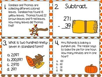 Fall Math Task Cards SCOOT 3rd 4th Grade CCSS TEKS Aligned