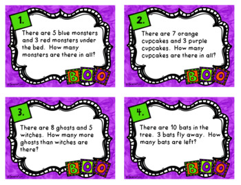 Fall Math Task Cards - Word Problems