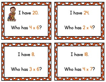 Fall Math Task Cards Multiplication Facts / Times Tables 1 - 4