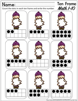Fall Math - Ten Frame Counting 0-10