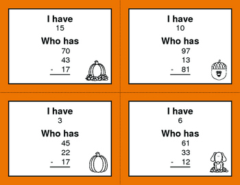 Fall Math: Three 2-Digit Subtraction - I Have, Who Has