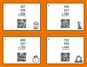 Fall Math: Three 3-Digit Addition QR Code Task Cards