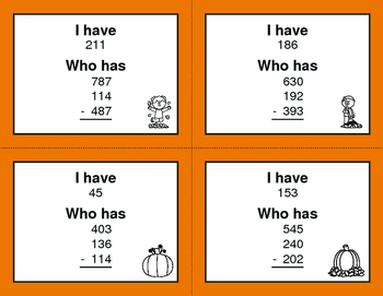 Fall Math: Three 3-Digit Subtraction - I Have, Who Has