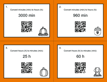 Fall Math: Time Conversion: Minutes & Hours QR Code Task Cards