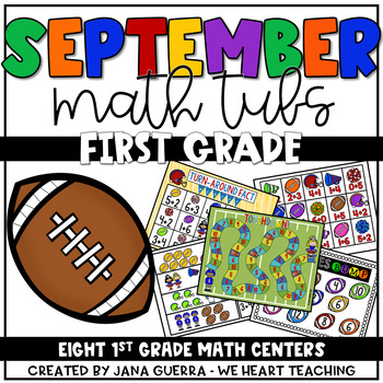September Math Centers: First Grade (Football Themed)