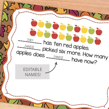 Fall Math Word Problems - Addition