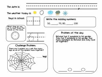 Fall Math Work-Along Journal